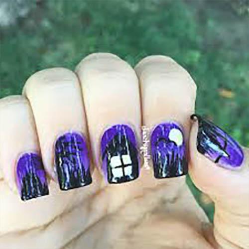 decoracion uñas para halloween moradas
