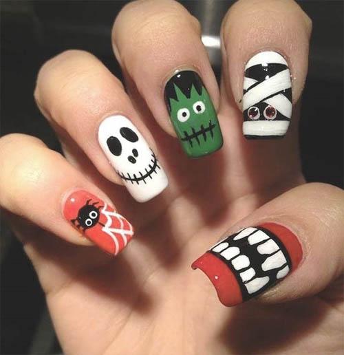 como pintarse las uñas halloween