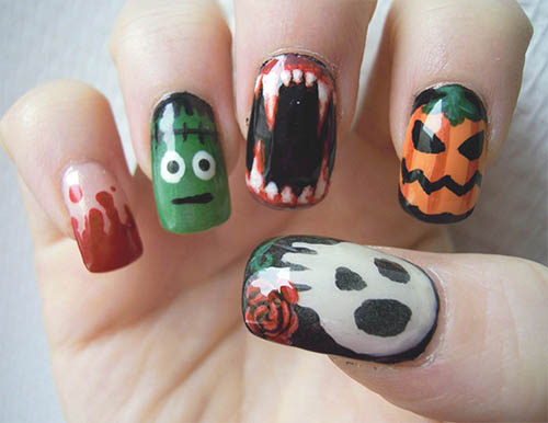 Uñas de halloween MONSTRUOS