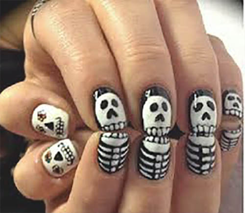Uñas decoradas halloween calavera