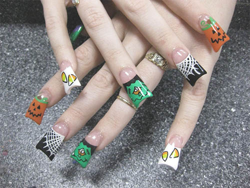 Uñas largas decoradas de halloween
